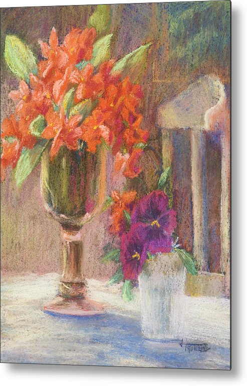 Still Life Metal Print featuring the painting Indian Hawthorn With Pansys by Jimmie Trotter