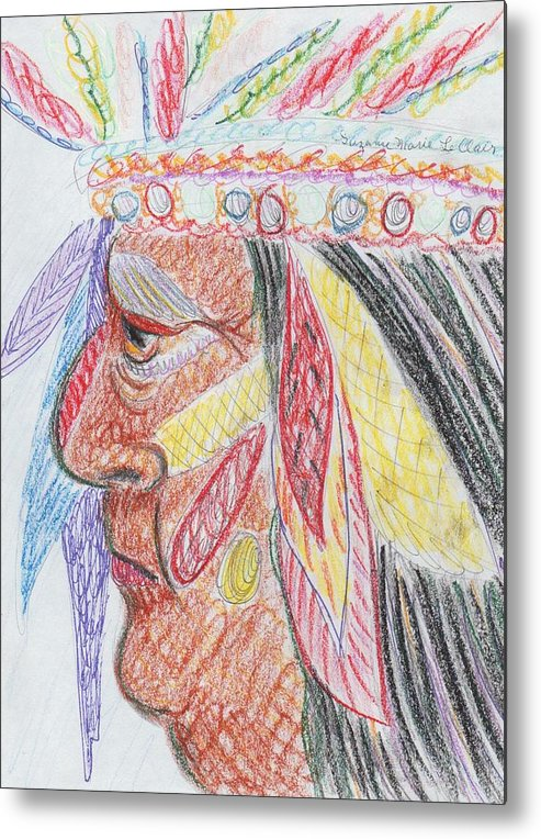 Indian Metal Print featuring the painting Indian by Suzanne Marie Leclair