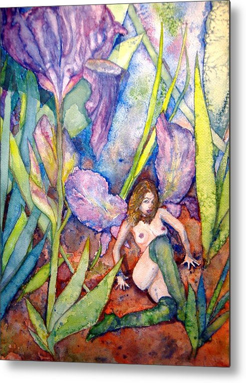 Faerie Metal Print featuring the painting Iris Grantor Of Hope Wisdom And Inspiration - Watercolor by Donna Hanna