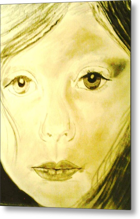 Children Metal Print featuring the drawing Jana by J Bauer