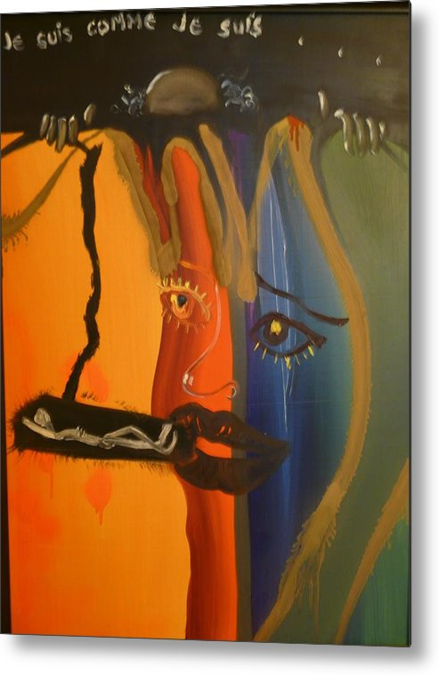 Surrealist Metal Print featuring the painting Je Suis Comme Je Suis ... by Zsuzsa Sedah Mathe