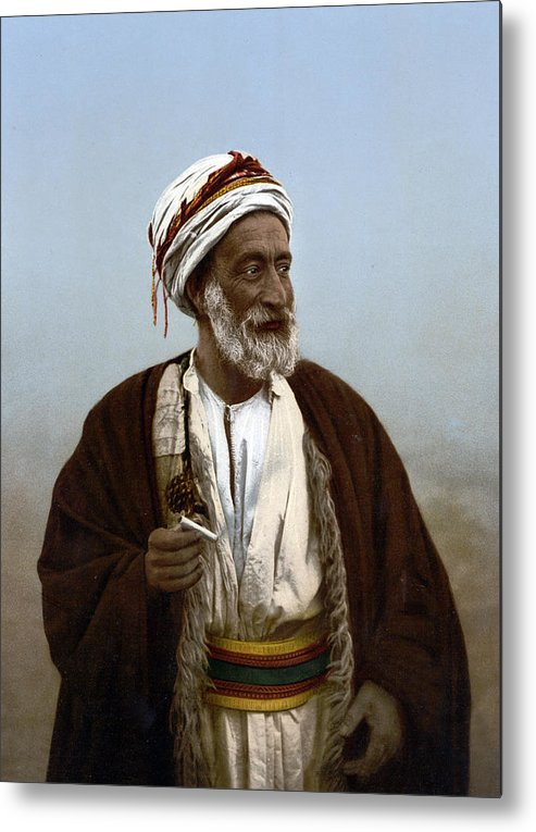 Photograph Metal Print featuring the photograph Jerusalem - Sheik Of Palestinian Village by Munir Alawi