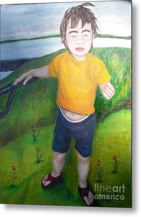 Child Metal Print featuring the painting Jessica Caldwell by Neil Trapp