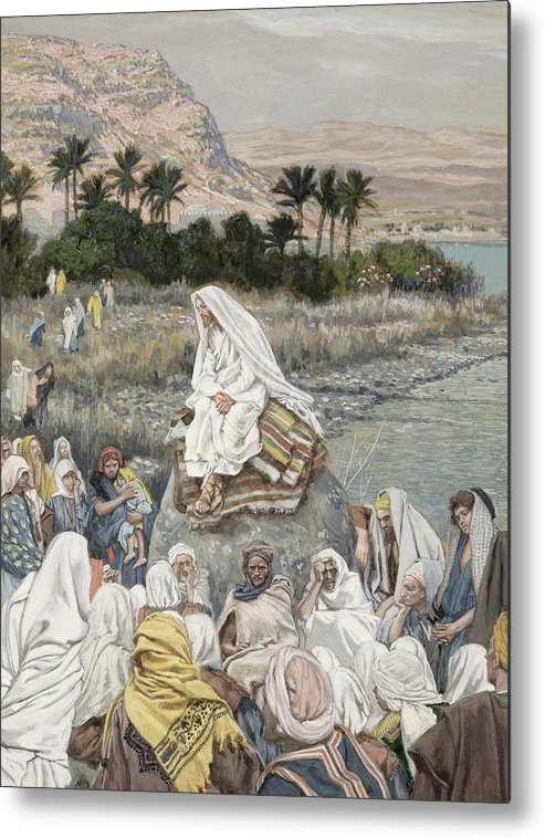 Sermon Metal Print featuring the painting Jesus Preaching By The Seashore by Tissot