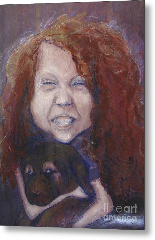 Girl Metal Print featuring the painting joy by Sarah Goodbread