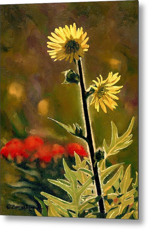 Prairie Flowers Metal Print featuring the painting July Afternoon-compass Plant by Bruce Morrison