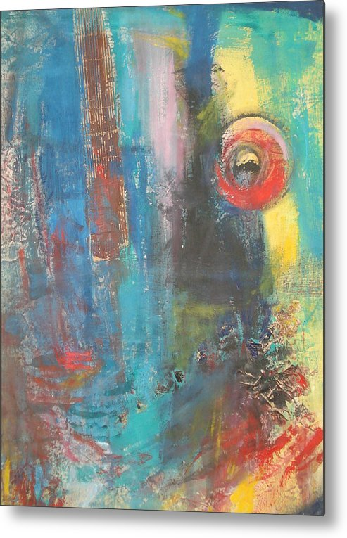 Abstract Metal Print featuring the painting Kaos by Vivien Ferrari
