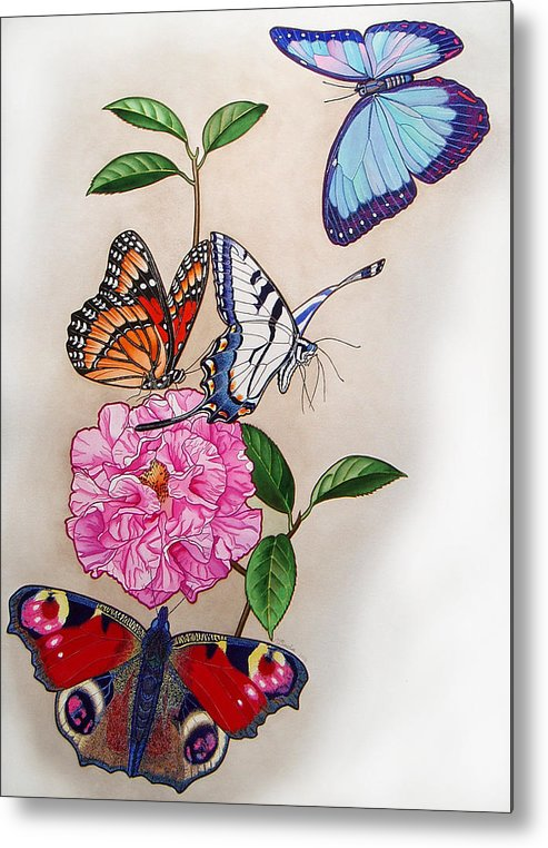 Butterflies Metal Print featuring the painting Ladies Of The Camellia by Vlasta Smola