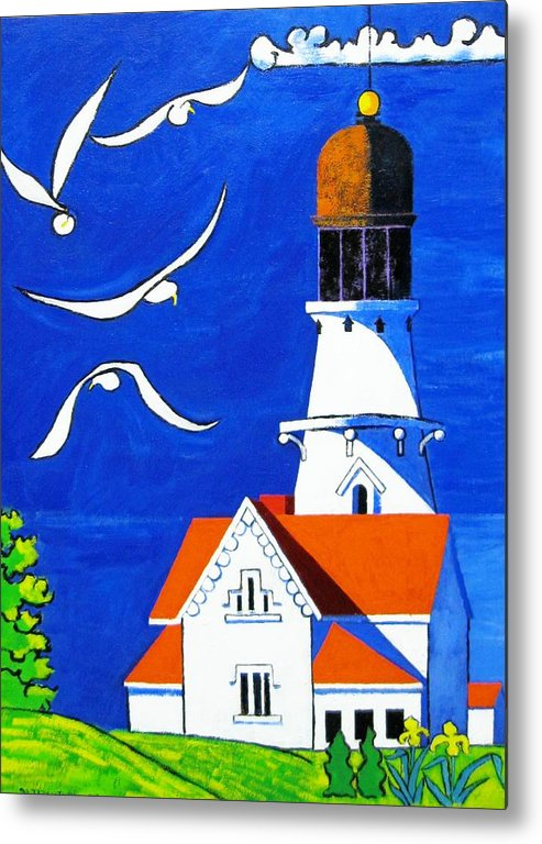 Lighthouse Metal Print featuring the painting Lighthouse With Seagull by Nicholas Martori