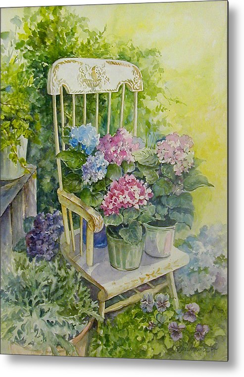 Floral;flowers;rocking Chair;hydrangeas;pansies; Metal Print featuring the painting Linda by Lois Mountz