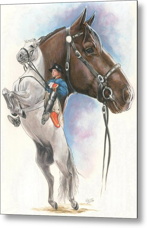 Spanish Riding School Metal Print featuring the mixed media Lippizaner by Barbara Keith