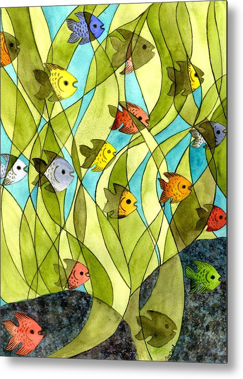 Fish Metal Print featuring the painting Little Fish Big Pond by Catherine G McElroy
