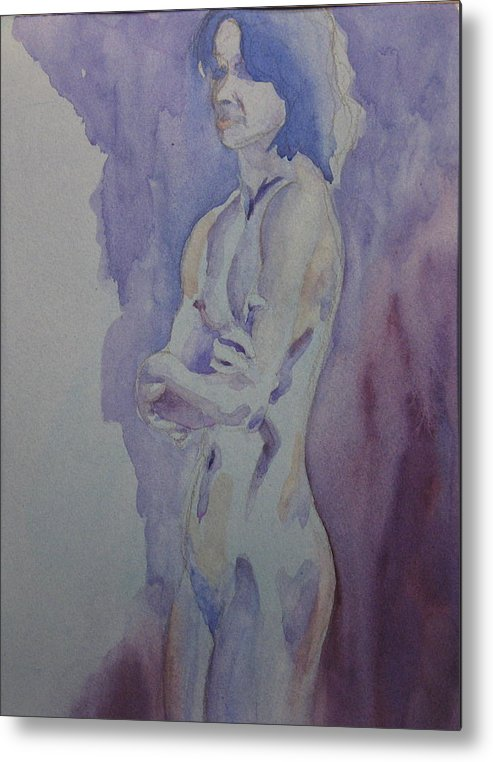 Female Nude Standing Metal Print featuring the painting LMD by Ken Daugherty