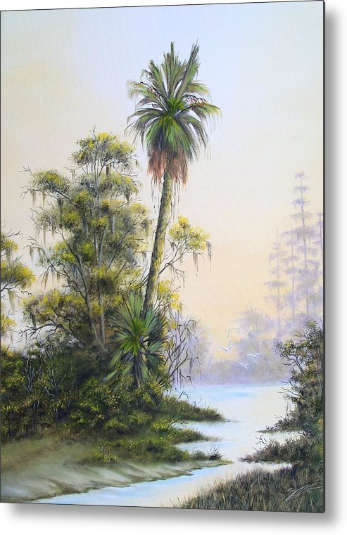 Landscape Metal Print featuring the painting Lonesome Palm by Dennis Vebert