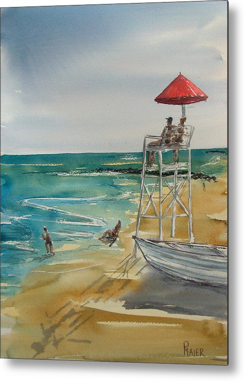 Seascape Metal Print featuring the painting Lookin Out by Pete Maier