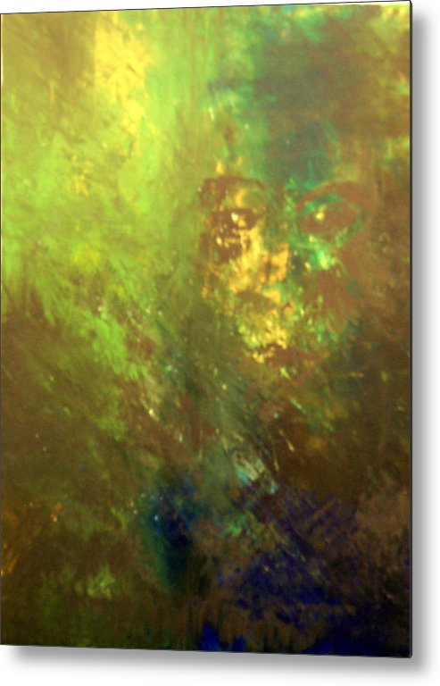 Abstract Metal Print featuring the painting Lost Soul Or In The Garden by DeLa Hayes Coward