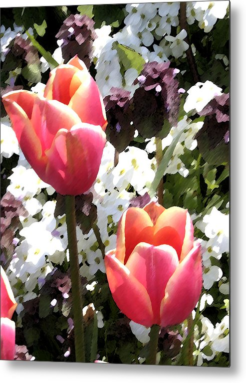 Tulips Metal Print featuring the digital art Love Tulips by Mary Gaines