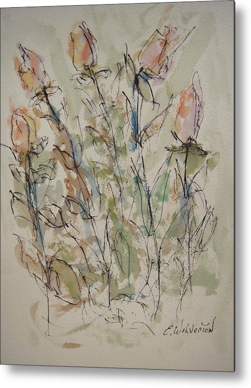 Floral Metal Print featuring the painting Majestic Floral Kk by Edward Wolverton