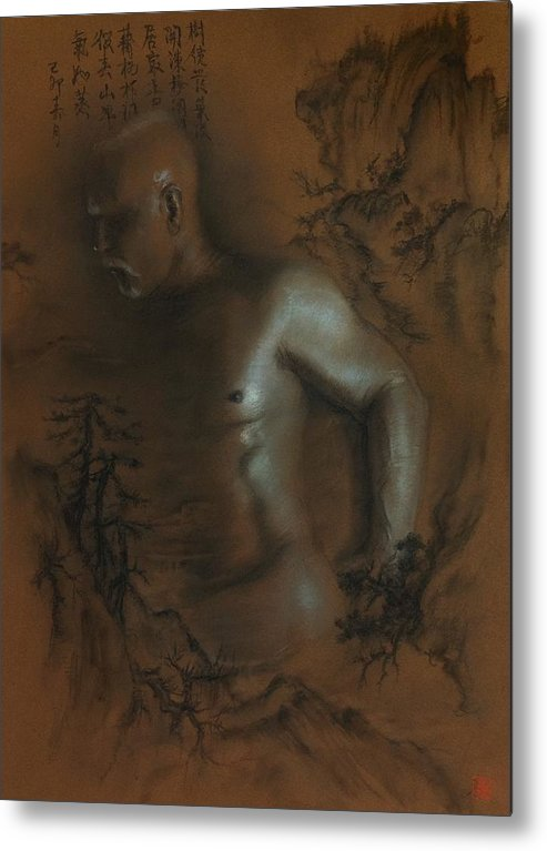 Male Nude Metal Print featuring the drawing Male Nude 17. East Meets West 1. by Tai Lin