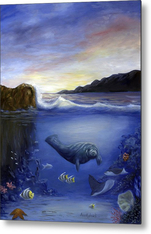 Seaworld Metal Print featuring the painting Manatee by Anne Kushnick