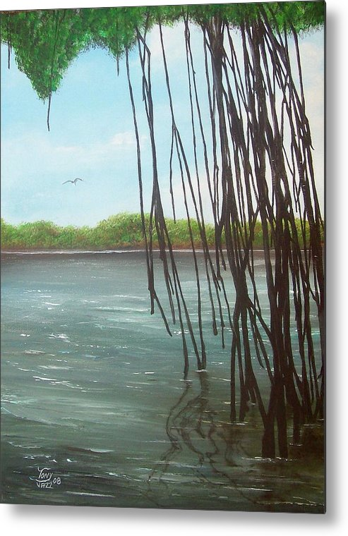 Seascapes Metal Print featuring the painting Mangroves by Tony Rodriguez