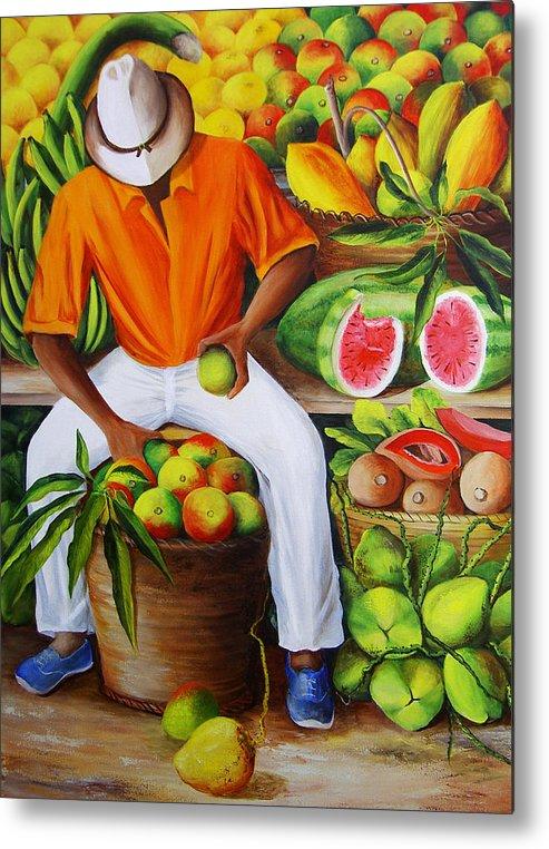 Caribbean Metal Print featuring the painting Manuel The Caribbean Fruit Vendor by Dominica Alcantara