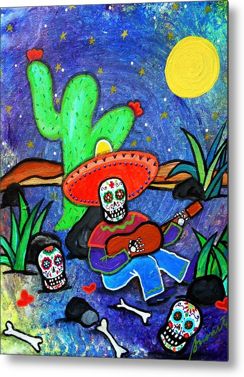 Siesta Metal Print featuring the painting Mariachi Siesta by Pristine Cartera Turkus