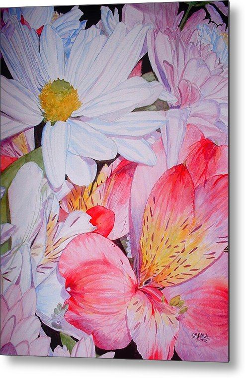 Garden Metal Print featuring the painting Market Flowers - Watercolor by Donna Hanna