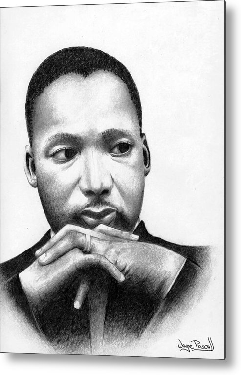 Mlk Metal Print featuring the drawing Martin by Wayne Pascall