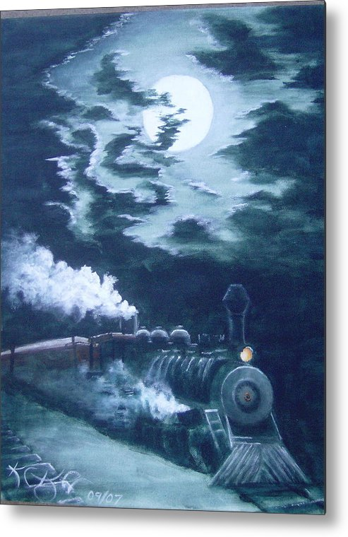 Landscape Metal Print featuring the painting Midnight Train by KC Knight