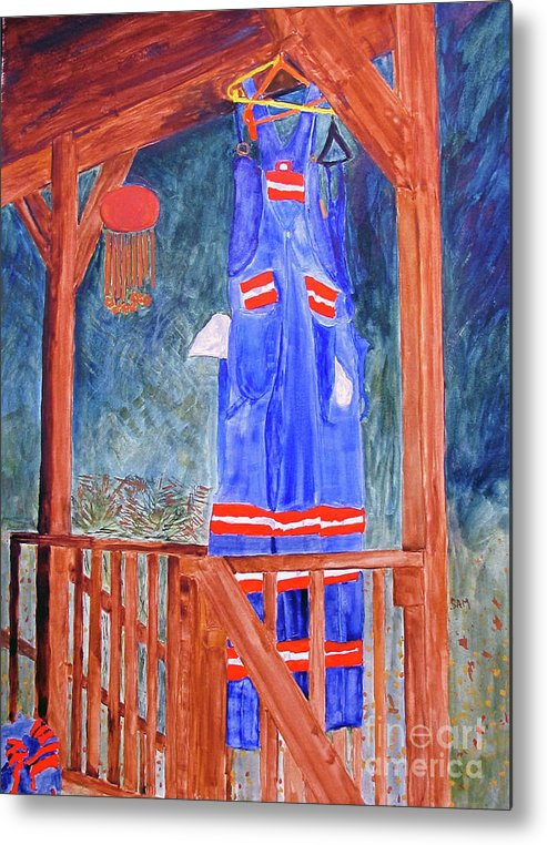 Miner Metal Print featuring the painting Miner's Overalls by Sandy McIntire