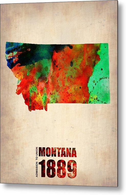 Montana Metal Print featuring the mixed media Montana Watercolor Map by Naxart Studio
