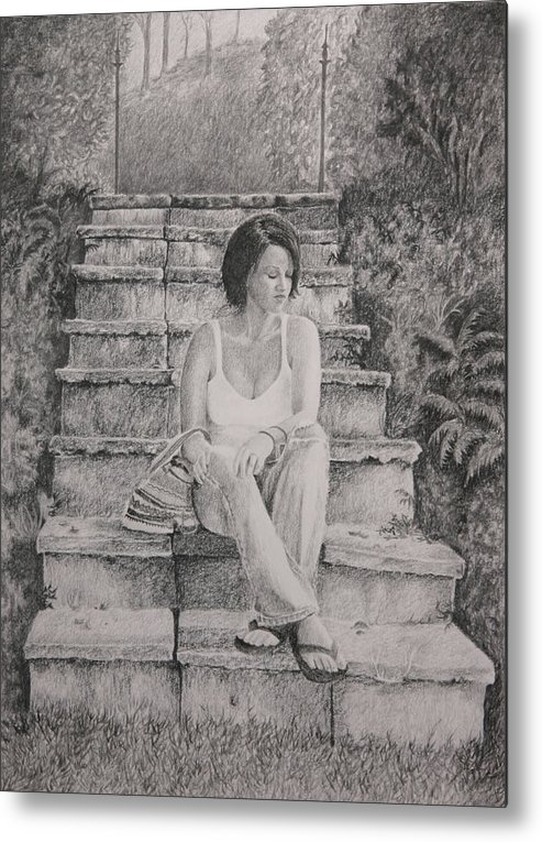 Drawing Metal Print featuring the drawing Moving On by Tina Foote