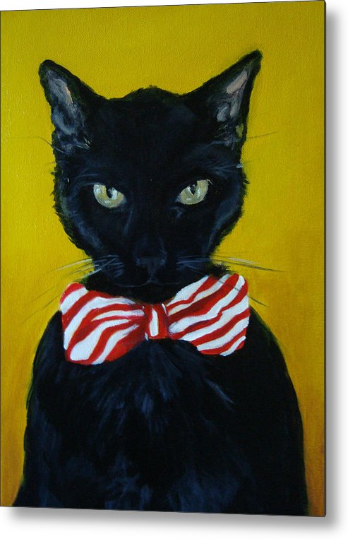 Black Cat Metal Print featuring the painting Mr. Sophisticated by Devon Ingram