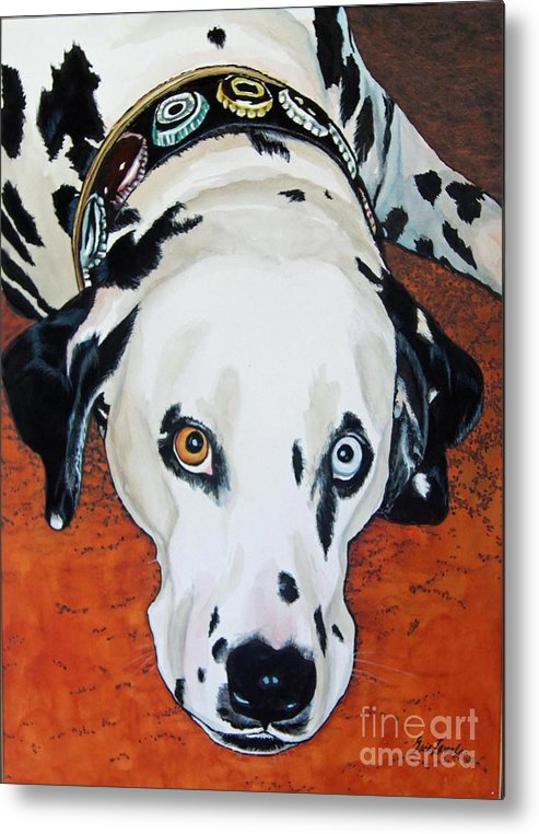 Animal Metal Print featuring the painting My Cock-eyed Dog by Gail Zavala