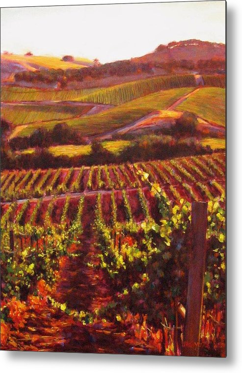 Wine Painting Metal Print featuring the painting Napa Carneros Summer Evening Light by Takayuki Harada