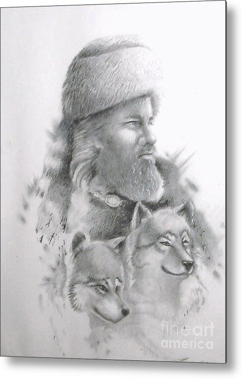 Realistic Metal Print featuring the drawing Never Alone by Lynda Clark