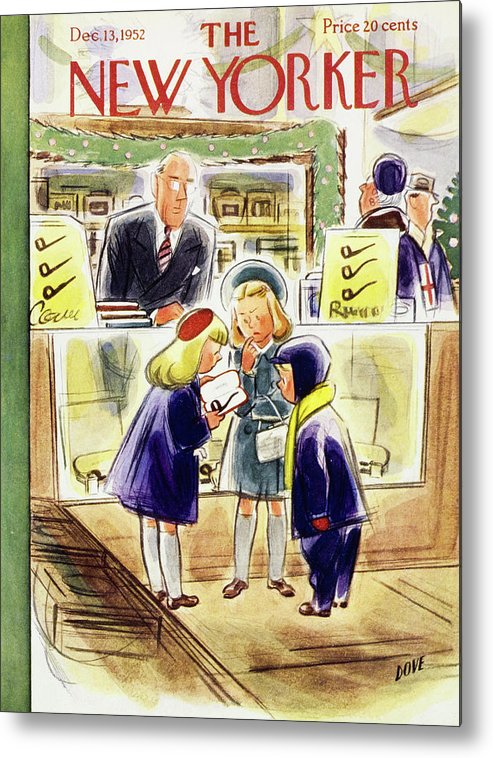 Children Metal Print featuring the painting New Yorker December 13 1952 by Leonard Dove
