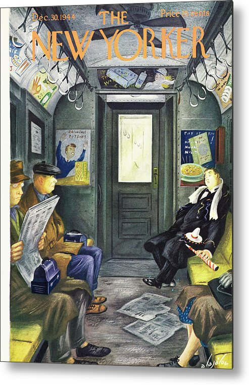 Illustration Metal Print featuring the painting New Yorker Magazine Cover Of A Man Sleeping by Constantin Alajalov