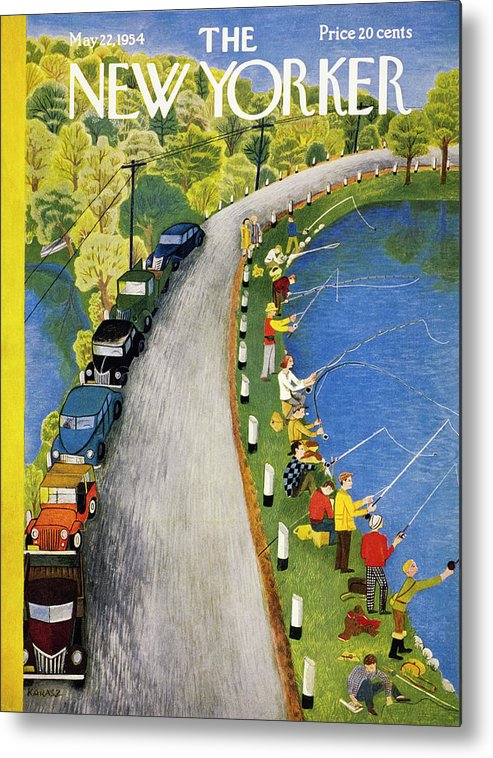 Weekend Metal Print featuring the painting New Yorker May 22 1954 by Ilonka Karasz