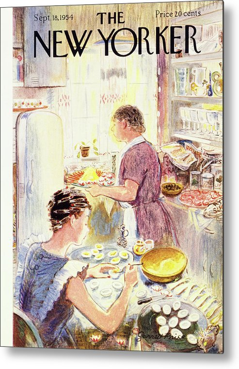 Hostess Metal Print featuring the painting New Yorker September 18 1954 by Garrett Price