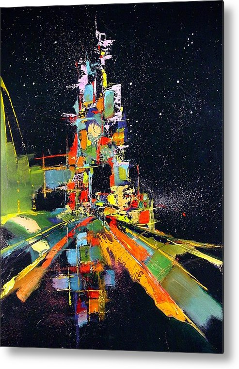 Abstract Metal Print featuring the painting Night Carnival by Ronald Dykes
