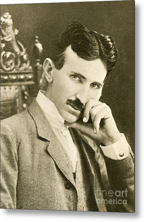 Science Metal Print featuring the photograph Nikola Tesla, Serbian-american Inventor by Photo Researchers