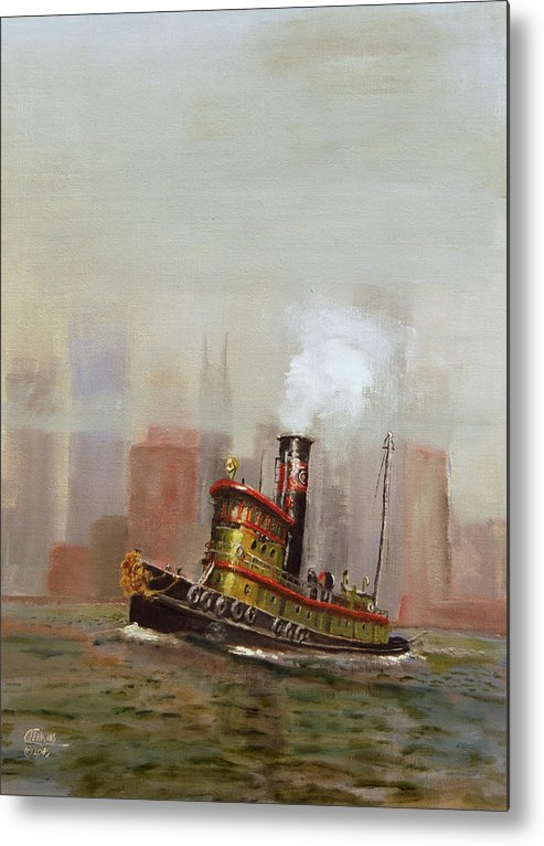 Tug Metal Print featuring the painting Nyc Tug by Christopher Jenkins