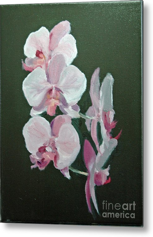Floral Metal Print featuring the painting Orchids For Didi by Glenn Secrest