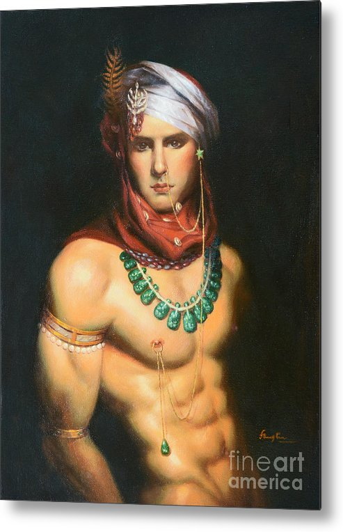 Original Metal Print featuring the painting Original Classic Oil Painting Man Body Art-male Nude -068 by Hongtao   Huang