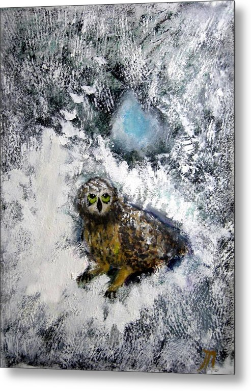 Owl Metal Print featuring the painting Owl On Snowy Afternoon by Michela Akers