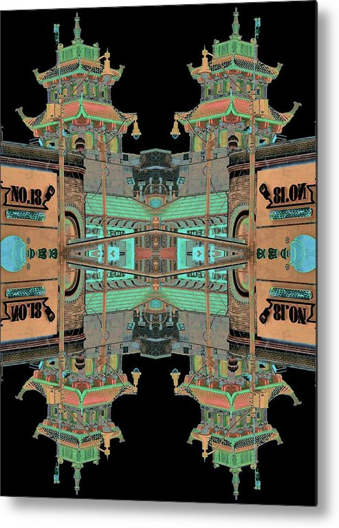 China Town Metal Print featuring the photograph Pagoda Tower Becomes Chinese Lantern 1 Chinatown Chicago by Marianne Dow