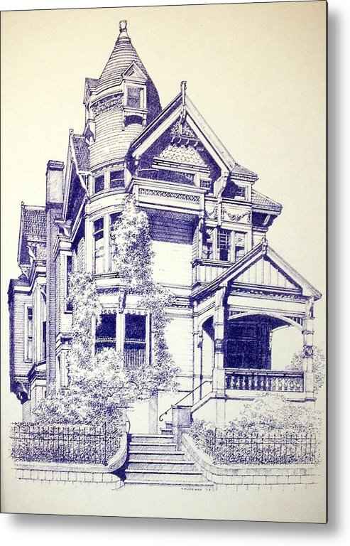 Victorian Mansions Houses Architecture Homessan Francisco Metal Print featuring the painting Painted Lady by Tony Ruggiero