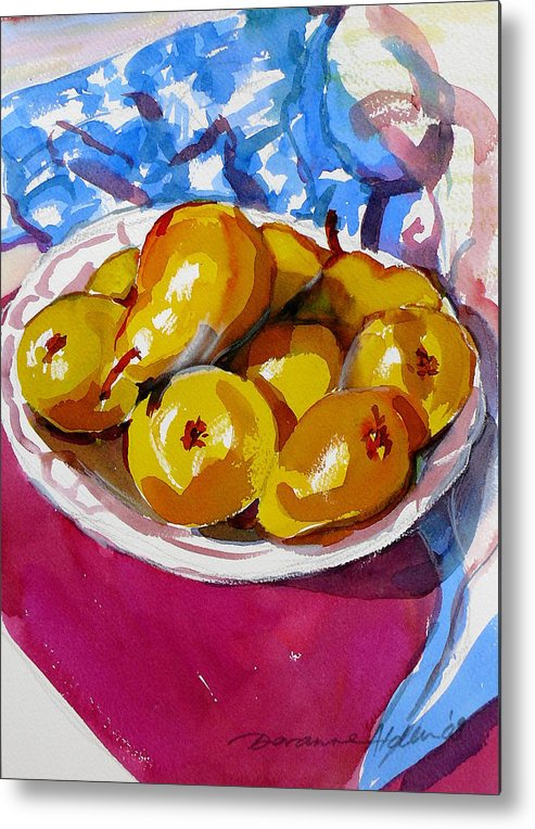 Still Life Metal Print featuring the painting Pears Project by Doranne Alden
